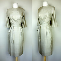 1950s silk dress, beige 3/4 sleeve wiggle shift wrap dress, Richard Cole, cross pleated bust and waist tie