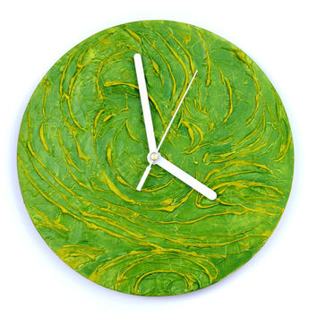 GREEN WALL CLOCK Unique art design decor rich texture clock handmade wall clock green home decor Hand painted wall decor gold red yellow