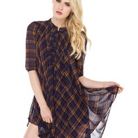 Blue and Gold Plaid High Neckline Chiffon Dress with High and Low Hem