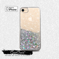 Geometric White Line Art Shapes Grid Tumblr Liquid Glitter Sparkle Case iPhone 6 and 6s iPhone 6 Plus and 6s Plus iPhone 7 and iPhone 7 Plus