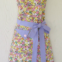 Candy Hearts Apron , Retro Style , Valentine's Day , Full Apron , Conversation Hearts , Pink Heart , Lavender, KitschNStyle