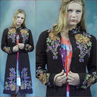 Vintage embroidered coat / chocolate brown cotton boho jacket with detailed coloured threads / haute hippie