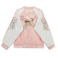 Deer Embroidery Bomber Jacket (M-L)