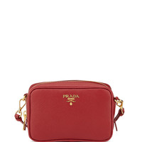Saffiano Mini Zip Crossbody Bag, Red (Fuoco) - Prada