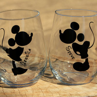 Mickey and Minnie Mouse Stemless Wine Glasses. Engagement or Wedding Gift/Bride and Groom