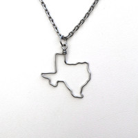 State Necklace // Choose Any State Country City Province Island  // Wire Outline // Silver or Gold // Texas