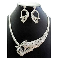 Handmade 14K White Gold Austrian Crystal Panther Necklace & Earring Set