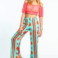 MINT IKAT WIDE LEG PANTS