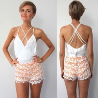 WHITE CRISS CROSS CAGED BACK BACKLESS PLUDGING NECK BODYSUIT LEOTARD XS S M L