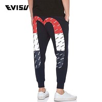 EVISU New Trending Women Men Stylish Print Cotton Velvet Sport Pants Trousers Sweatpants
