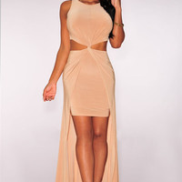 Nude Knotted Cut-out Sleeveless Maxi Dress
