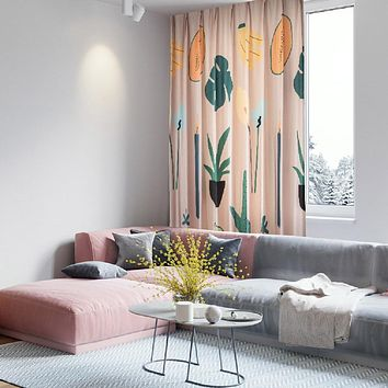 Pink Plants and Fruits Drapes