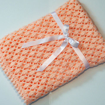 Hand Crochet Baby Blanket in Peach, Baby Shower Gift, Baby Girl Gift, Peach Baby Afghan, Lacy Baby Blanket