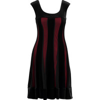 Connected Apparel Womens Black & Red Mesh Panel Velvet Dress