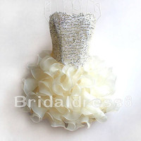 Sequins Sweetheart Strapless Ball Gown Short Bridesmaid Celebrity Cocktail Dress,Mini Organza Formal Evening Party Prom Homecoming Dress