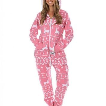 Ugly Christmas Sweater Party - Fair Isle Pink Adult Jumpsuit
