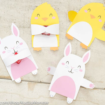printable easter candy huggers bunny and chick party favor single candy holders for kids classroom easter party cute gift for kids