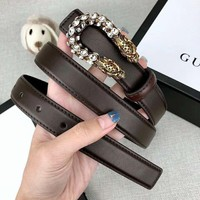 GUCCI Newest Fashion Women Men Retro Diamond Smooth Buckle Belt Leather Belt
