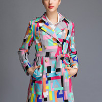 Multicolor Long Sleeve Geometric Printed Trench Coat