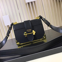 PRADA WOMEN'S NEW STYLE LEATHER BOX SHOULDER BAG