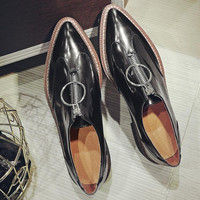 British Style Leather Front Zipper Oxford Round Ring Shoes