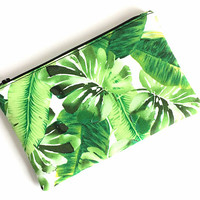 Tropical Pouch - Small Makeup Bag - Tropical Zipper Pouch - Palm Leaf Bag - Pencil Pouch - Zip Pouch - Purse Pouch - Gift for Her