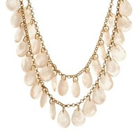 Pale Peach Two-Tiered Faceted Bead Bib Necklace by Charlotte Russe