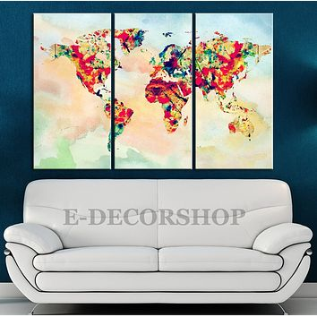 Rainbow Colour Canvas Print WORLD MAP on Watercolor Background Triptych World Map 3 Piece