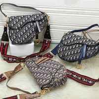 """Dior"" Fashion Letter Embossed Jelly Bag Pocket Chain Messenger Bag Women Sport Solid Color Small Square Bag"