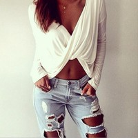 Sexy V Neck Long Sleeve Cross Front Blouse Top