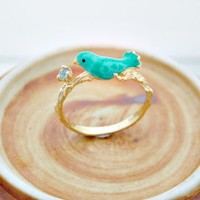 Blue Topaz Silver Ring with tweeting bird on branch size 7