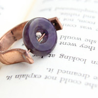 Copper and Amethyst Fidget Ring - Size 7 - Moving Stones for Moving Fingers!