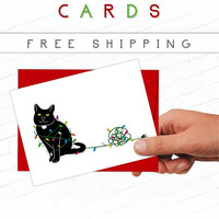 Black Cat Christmas Card, Cat Holiday Cards, Hand Drawn, Illustrated Greeting Card, Cute Cat Tangled in Lights, Illustrated, For Cat Lovers