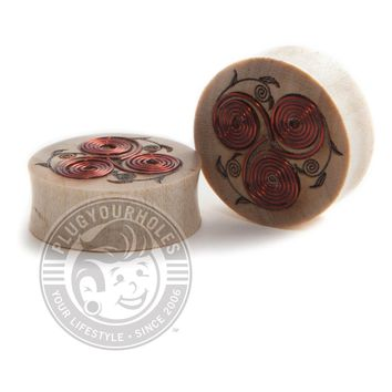 Copper Wire Spirals Crocodile Wood Plugs