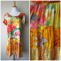 JAMS WORLD Hattie Dress in Jubilant, Colorful Bright Sunny Floral Hawaiian Island Drop Waist Shift Dress w/ Tiered Skirt, Size L