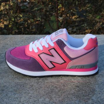 Women Men Casual Running NEW BALANCE Sport Shoes Sneakers Rose red and blue color