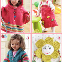 Hooded poncho, A-Line jumper & hat, Crochet bolero, Daisy toy, Toy elephant, Fair-isle pullover and hat. 6 knitting and crochet patterns