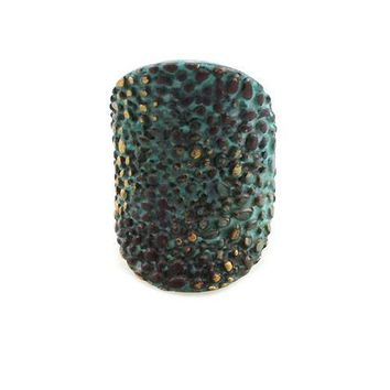 """1.25"""" patina textured boho stretch ring free size cocktail"""