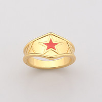 2017 Fashion Wonder Woman Men and women Rings golden crown red Five-pointed star Jewelry
