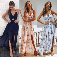 Womens Summer Boho Maxi Long Dress Evening Party Beach Dresses Sundress Floral Halter Dress Summer 2019