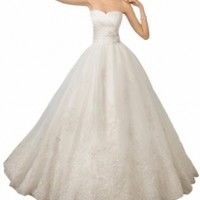 GEORGE BRIDE Elegant Strapless A-line Satin and Lace Wedding Dress Size 12 White