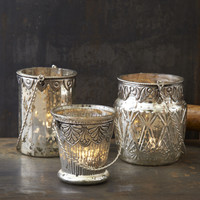 Antiqued Mercury Glass Lantern Tealight Set