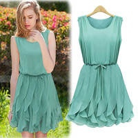 Ruffled A-Line Chiffon Dress