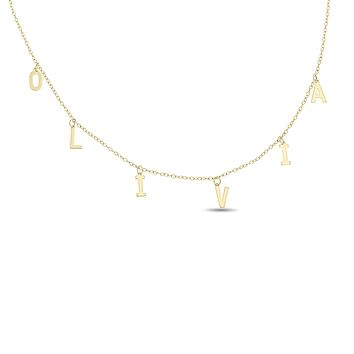 Letter Charm Name Choker / Necklace in 10k Gold