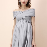 Cross and Wrap Off-shoulder Dress in Grey