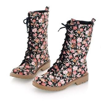 Women's Flower Prined Lace Up Short Boots