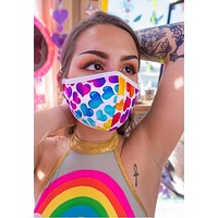 Rainbow Heart Tailored Face Mask With Filter - J Valentine FF554