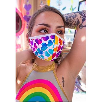 Rainbow Heart Tailored Rave Mask With Filter - J Valentine FF554