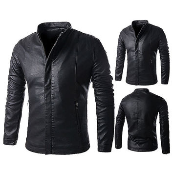 Men's Washable Leather Winter Coats Casual Woolen Liner Outerwear Jacket