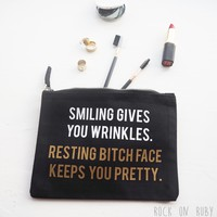 Resting Bitch Face Keeps You Pretty Make Up Bag - Printed Beauty Accessory by Rock On Ruby